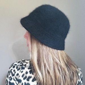 Angora Wool Blend Black Bucket Hat Cap EUC